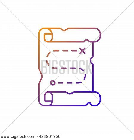 Map Gradient Linear Vector Icon. Searching For Pirate Treasure. Marked Pathway On Vintage Scroll. Cl