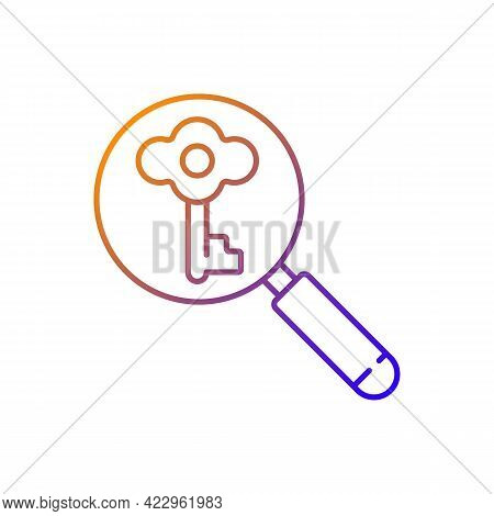 Looking For Key Gradient Linear Vector Icon. Investigating To Solve Problem. Searching For Tips. Clu