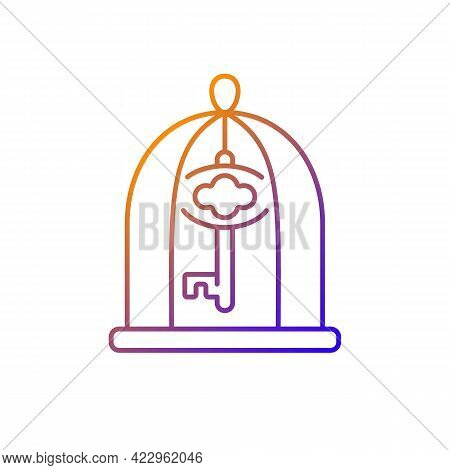 Key In Cage Gradient Linear Vector Icon. Gain Access. Solve Difficult Situation. Solving Puzzles, Cl