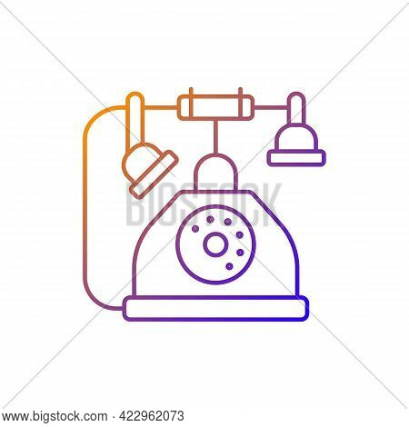 Telephone Gradient Linear Vector Icon. Old Fashioned Phone. Classic Device With Cord. Solve Puzzles,