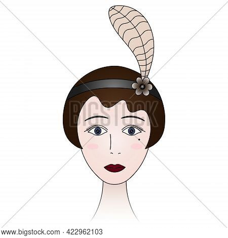 The Face Of A Woman From The 1920s. Lady Portrait In Retro Style. A Brunette Girl With Blue Eyes, A