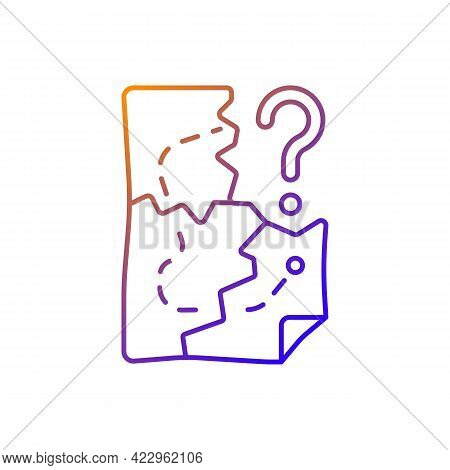 Map Pieces Gradient Linear Vector Icon. Route To Pirate Treasure. Find Pathway. Solving Puzzles, Clu