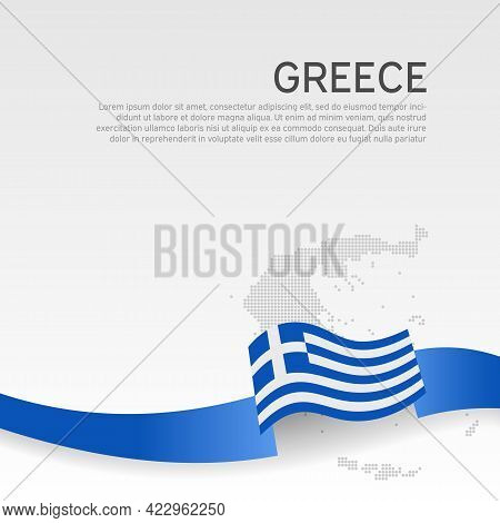 Greece Wavy Flag And Mosaic Map On White Background. Greece Flag Wavy Ribbon Color. National Poster