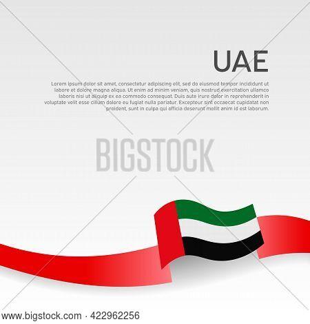 Background With Flag Of United Arab Emirates. Uae Flag With Wavy Ribbon On A White Background. Natio