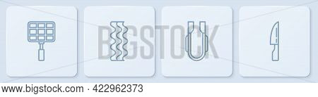 Set Line Barbecue Steel Grid, Meat Tongs, Bacon Stripe And Knife. White Square Button. Vector