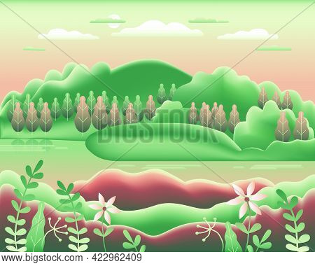 Hills Landscape In Flat Style Design. Beautiful Field, Meadow, Mountains And Sky. Rural Location Wit