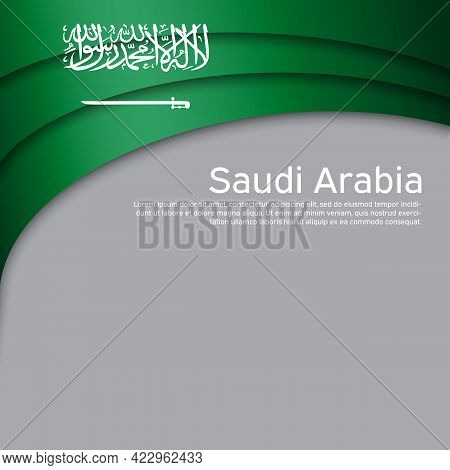 Abstract Waving Saudi Arabia Flag. Paper Cut Style. Creative Background For The Design Of Patriotic