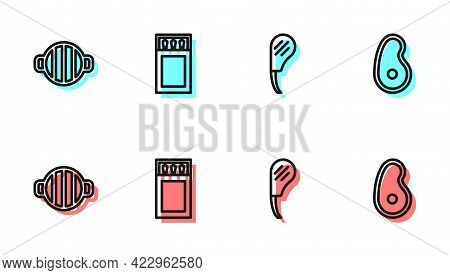 Set Line Rib Eye Steak, Barbecue Grill, Matchbox And Matches And Steak Meat Icon. Vector