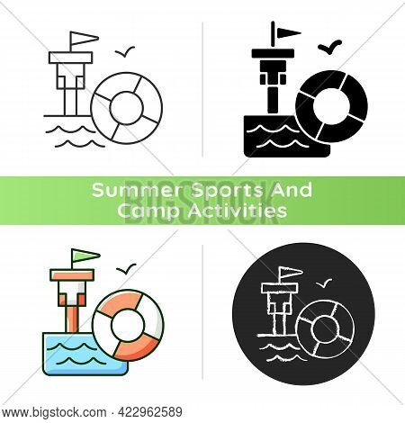 Lifeguarding Training Icon. First Aid. Water Emergencies Prevention And Responding. Preparation For