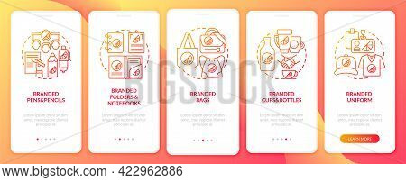 Branding Materials Onboarding Mobile App Page Screen With Concepts. Branded Bags, Pens Walkthrough 5