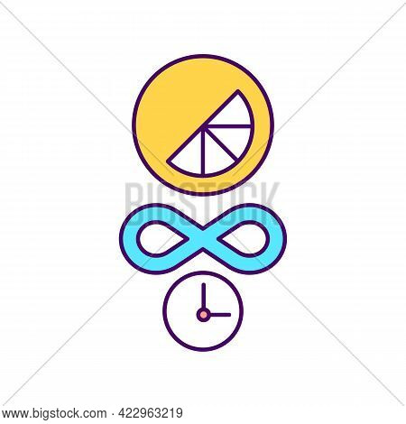 Infinite Brand Lifecycle Rgb Color Icon. Timeless Company Logotype. Isolated Vector Illustration. Un