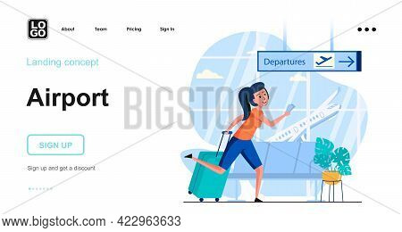 Airport Web Concept. Woman With Luggage Hurries To Boarding At Departure Gate, Flights And Travel. T