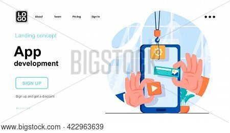 App Development Web Concept. Mobile Application Development, Create Of Interface Layout With Buttons