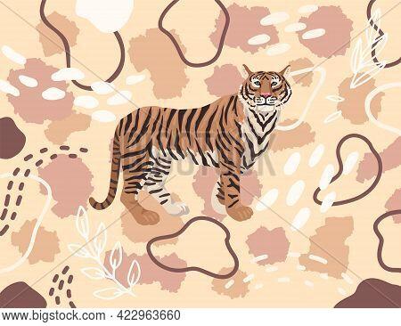 Tiger On Nude Pattern Flesh Color. Vector Drawing, Cartoon Flat Illustration For Print Textile Desig