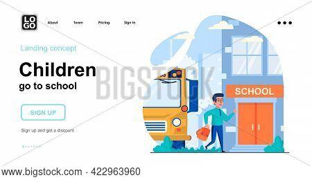 Children Go To School Web Concept. Schoolboy Came To School On School Bus. Primary Education. Templa