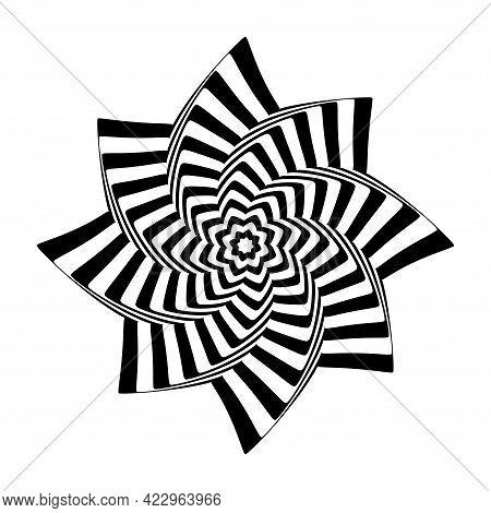 Op Art Design Element. Twisting Rotation Movement Illusion. Vector Illustration.