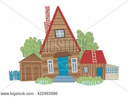 Old Wooden House In The Village, A Fence, A Doghouse, Trees Around. Wilderness. Farm Life. Summer, V
