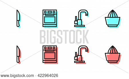 Set Line Water Tap, Knife, Oven And Citrus Fruit Juicer Icon. Vector
