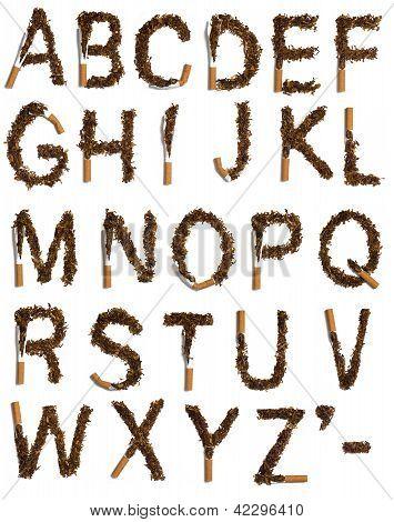 Destroyed Cigarettes Alphabet