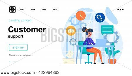 Customer Support Web Concept. Call Center Operator Advises Clients, Online Communication, Hotline. T