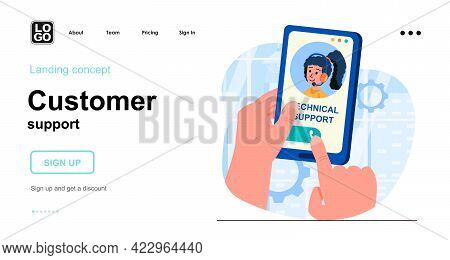 Customer Support Web Concept. Client Calls Technical Support. Hotline And Helpdesk Consultation. Tem