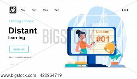 Distant Learning Web Concept. Online Training From Computer. Teacher Tells Lecture In Video Lesson.