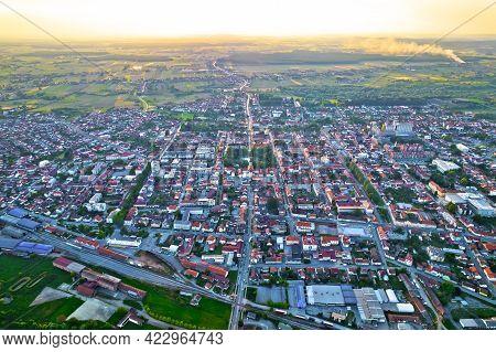 Town Of Bjelovar Aerial Sunset View, Bilogora Region Of Northern Croatia