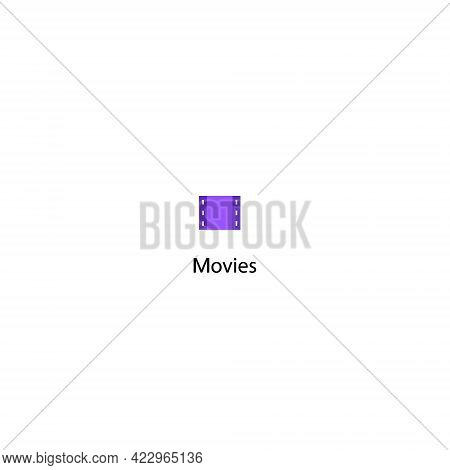 Movies Icon Vector. Movie Filmstrip Symbol Illustration