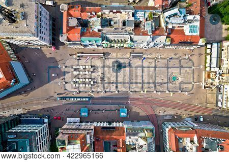 Ban Jelacic Central Square In Zagreb Aerial View, Capital Of Croatia