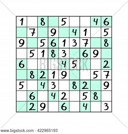 Even-odd Sudoku Puzzle For Kids Vector Illustration. Simple Educational Number Game For Children. Co