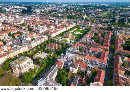 Lenuci Horseshoe. Green Zone Of Zagreb Historic City Center Aerial View, Famous Landmarks Of Capital