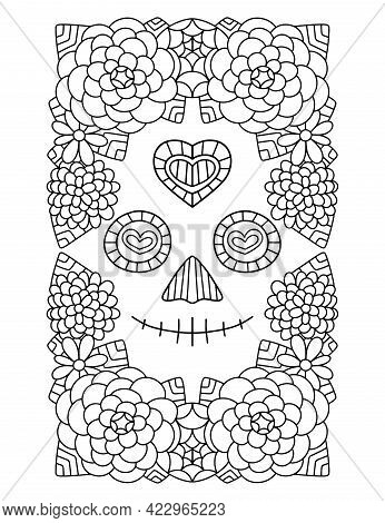 Smiling Skull Face And Flowers Around Hand-drawn Coloring Page Vector Illustration. Funny Dia De Mue