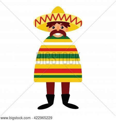 Cartoon Funny Mexican Character With Mustache, Poncho, And Sombrero Isolated On White Vector Illustr