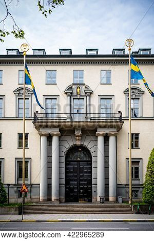 Stockholm, Sweden - May 25, 2021: Vertical Front View Of The Famous Stockholm School Of Economics Bu