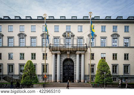 Stockholm, Sweden - May 25, 2021: Horizontal Front View Of The Famous Stockholm School Of Economics