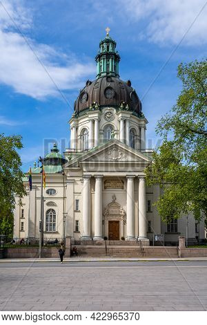 Stockholm, Sweden - May 25, 2021: Vertical Front View Of The Old Lutheran Gustav Vasa Church With In
