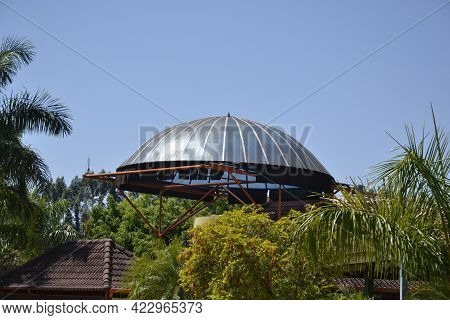 Dome. Round Steel Dome With Iron Structure In A Restaurant In A Fishing Park In Brazil, South Americ