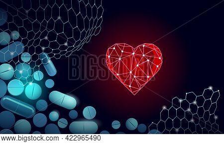 3d Medicine Heart Medicine Treatment. Human Health Diagnostics Vascular Organ System Pill Vitamins.
