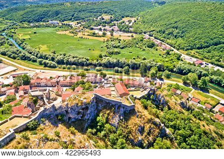 Knin Fortress On The Rock And Krka River Aerial View, Second Largest Fortress In Croatia