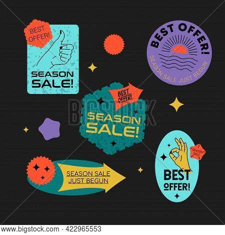 Sale Stickers Retro Set With Hands Energetic Gestures, Shopping Cart Icon, And Blowing Bomb Icon. Ve