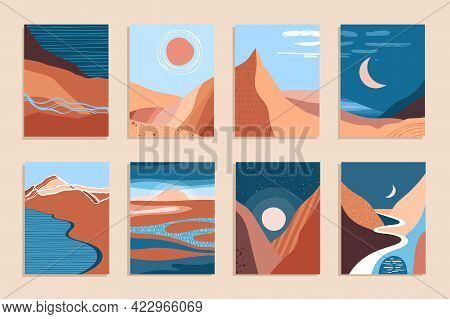 Abstract Contemporary Aesthetic Landscape, Bohemian Modern Background, Minimalist Wall Decor For Pos