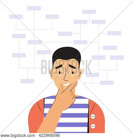 Young Thoughtful Man Solves Complex Work Tasks. Puzzled Male Character. Working With Big Data, Analy