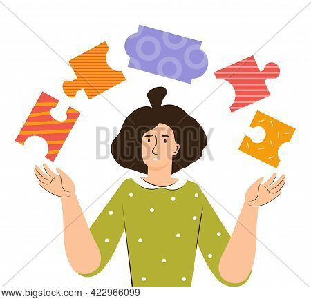 Young Woman Find Solution As Fitting Together Jigsaw Puzzle Pieces. Mind Behavior. Mental Health, Po