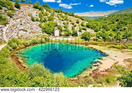 Cetina River Source Water Hole Green Landscape View, Dalmatian Hinterland Of Croatia