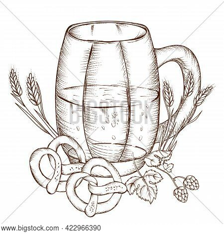 Hand Drawn Beer Mug With Pretzels And Hops, Engraving Vector Illustration Isolated On White Backgrou