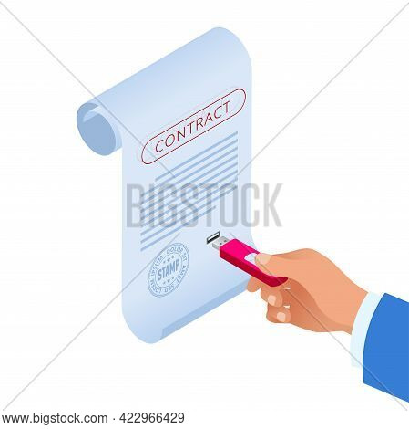 Isometric E-contract With E-signature Near. Electronic Document, Digital Form Attached To Electronic
