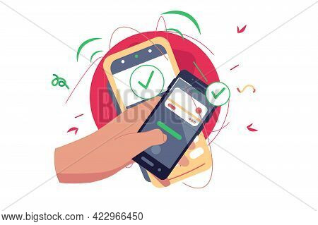 Success Approved Payment Check Mark Vector Illustration. Online Payment Via Smartphone Device Flat S