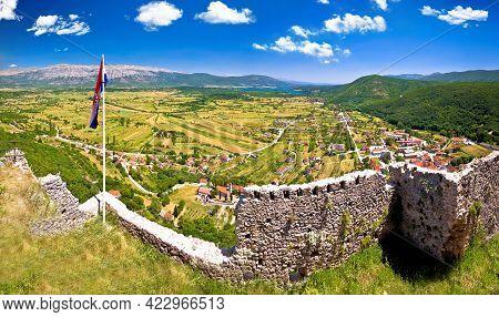 Town Of Vrlika And Peruca Lake Aerial Panoramic View From Prozor Fortress, Dalmatian Zagora Region O