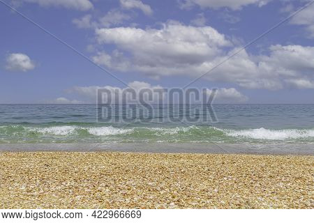 View Of The Mediterranean Coast Covered With Seashells. Sea Waves With Foam