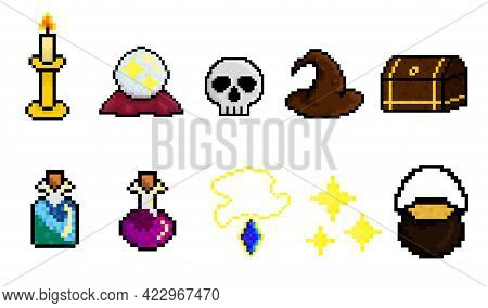 Pixel Art Vector Illustration Of Witchcraft Items Set For A Game: Candle, Magic Ball, Skull, Witch H
